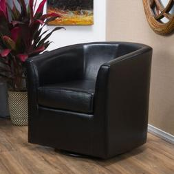 Corley Modern Upholstered Faux Leather Swivel Barrel Club Ch