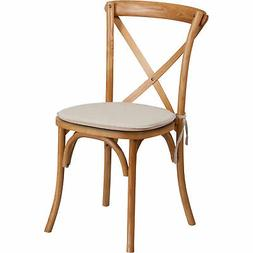 Flash Furniture Cross Back Stackable Chair with Cushion Oak