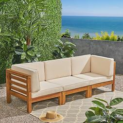 Dawson Outdoor Sectional Sofa Set - 3-Seater - Acacia Wood -
