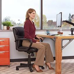 Desk Chair With Wheels Black Bonded Leather Home Office Furn