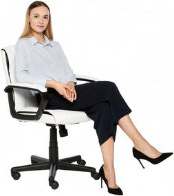 Desk Chair With Wheels White Faux Leather Home Office Furnit