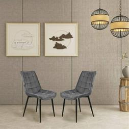 Dining Elegant Chair Set of 2 Metal Legs Velvet Cushion Seat