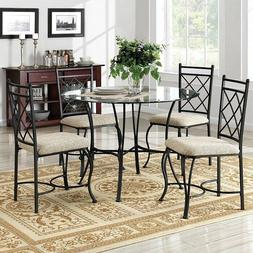 Dining Table and Chairs Set Round Glass Top Kitchen Sun Room