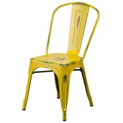Flash Furniture Distressed Yellow Metal Indoor-Outdoor Stack
