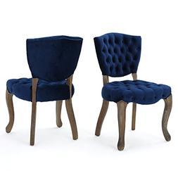 Duke Tufted Navy Blue New Velvet Dining Chairs