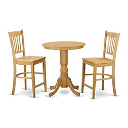East West Furniture EDGR3-OAK-W 3 Piece High Top Table and 2