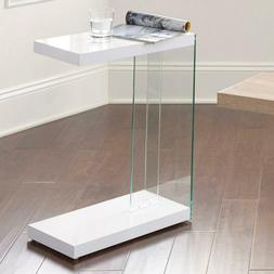 Elaina White Chair Side End Table Rectangle 25 in. H x 19 in