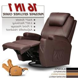 electric recliner massage chair leather armchair heated