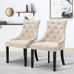 Elegant Set of 2 Beige Fabric Accent Dining Chairs Tufted Pa