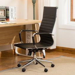 Ergonomic Ribbed PU Leather High Back Executive Computer Des