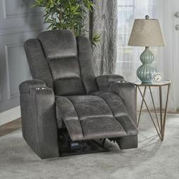 Everette Microfiber Power Recliner With Storage, USB Charger