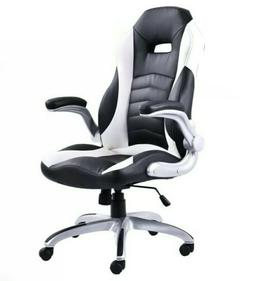 Executive Black & White PU Leather Racing Style Swivel Offic