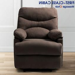 Fabric Gliding Recliner With Full Body Massage Chair Heat Vi