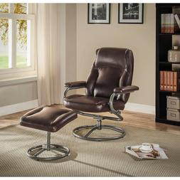 Faux Leather Recliner Chair with Ottoman Set Brown Swivel Se