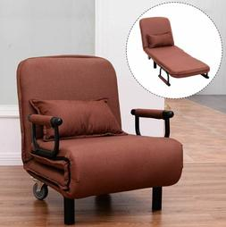 Fold Out Chaise Lounge Chair Convertible Sleeper RV Dorm Gue