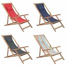 vidaXL Folding Beach Chair Fabric Wood Frame Outdoor Seat Lo