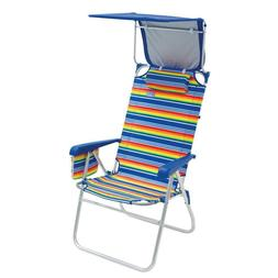 Folding Beach Chair with Adjustable Canopy Stylish Sun Shade
