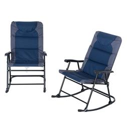 Folding Padded Outdoor Camping Rocking Chair Set Blue Grey L