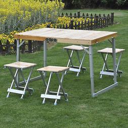 Folding Picnic Table 4 Seat Portable Set Outdoor Aluminum Ca
