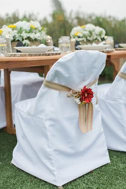 Folding Polyester Chair Covers Wedding Party Banquet 3 Color
