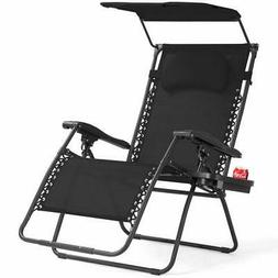 Folding Recliner Zero Gravity Lounge Chair W/ Shade Canopy C