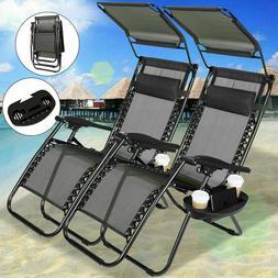 Folding Set of 2 Adjustable Zero Gravity Chairs Recliner Lou