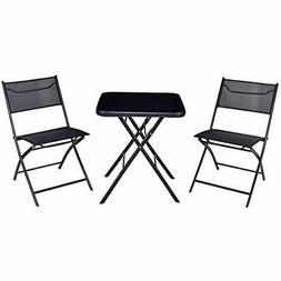 Giantex 3PC Bistro Set Folding Square Table And Chair Outdoo