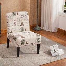 Goodale Script Linen Print Fabric Armless Contemporary Overs