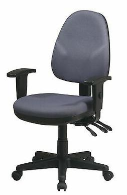 """Office Star Gray Fabric Desk Chair 18-1/2"""" Back Height, Arm"""