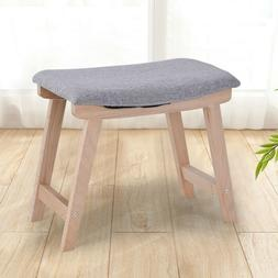 Gray Vanity Wood Dressing Stool Padded Chair Makeup Piano Se