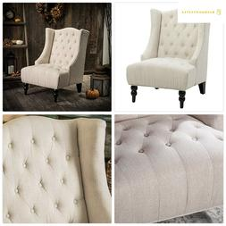 Great Deal Furniture Clarice Tall Wingback Tufted Fabric Acc