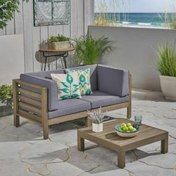 Great Deal Furniture Dawson Outdoor Sectional Loveseat Set w