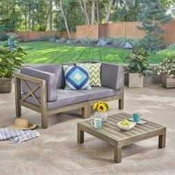 Great Deal Furniture Keith Outdoor Sectional Loveseat Set wi