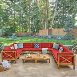 Keith Outdoor Sectional Sofa Set with Coffee Table  9-Piece