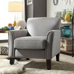Grey Linen Arm Chair Seat Cushion Padded Back Wood Legs Livi