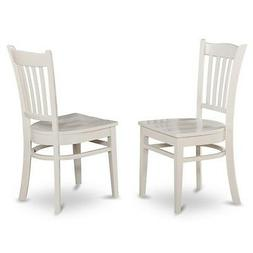 Set of 2 Groton dinette kitchen dining chairs with wood seat