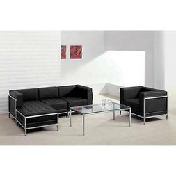 HERCULES IMAGINATION SERIES BLACK LEATHER SECTIONAL & CHAIR,