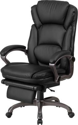high back black leather executive reclining swivel