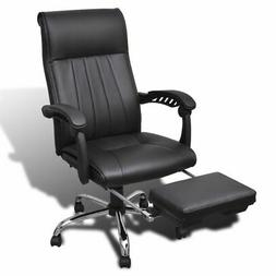 vidaXL High Back Executive Office Chair Black with Footrest