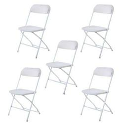 High Quality 5 Commercial White Plastic Folding Chairs Stack