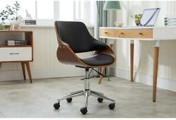 Home Office Desk Chair with Wheels Well-Padded Faux Leather
