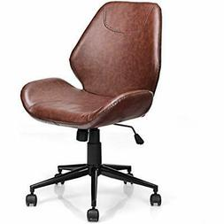 Home Office Leisure Chair Ergonomic Mid-Back PU Leather Arml