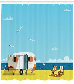 Illustration of Summertime Caravan Coastline Seagull Print S