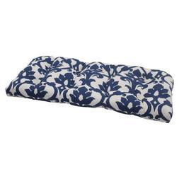 Pillow Perfect Outdoor Bosco Wicker Loveseat Cushion, Navy