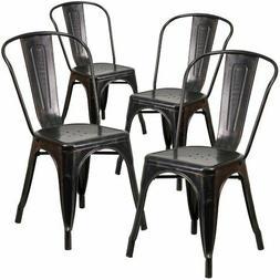 Metal Stackable Chair in Black Antique Gold Indoor Outdoor S