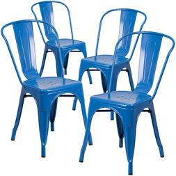 Blue Metal Armless Chair Indoor Outdoor Stackable Seat Set O