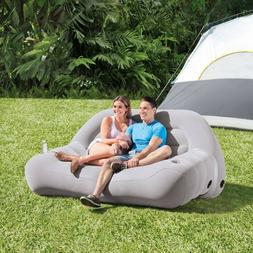 Inflatable Camping Sofa Couch Chair Air Mattress Outdoor Cup