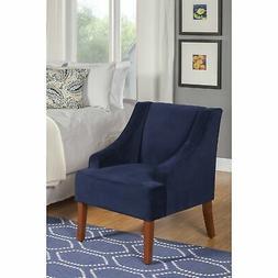 HomePop Ink Navy Swoop Arm Velvet Accent Chair