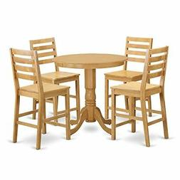 East West Furniture JACF5-OAK-W 5 Piece Pub Table and 4 Chai