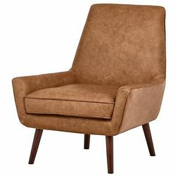 """Rivet Jamie Mid-Century Leather Low Arm Accent Chair, 31""""W,"""